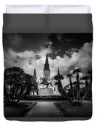 Jackson Square Sunrise In Black And White Duvet Cover