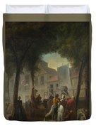 Jacques De Saint Aubin   A Street Show In Paris Duvet Cover