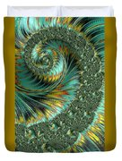 Jade And Yellow Fractal Spiral Duvet Cover