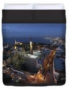 Jaffa At Night Aerial View Duvet Cover
