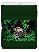 Jaguar Panthera Onca Peeking Duvet Cover