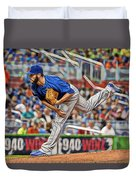 Jake Arrieta Chicago Cubs Pitcher Duvet Cover