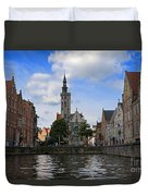 Jan Van Eyck Square With The Poortersloge From The Canal In Bruges Duvet Cover