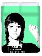 Jane Fonda Mug Shot - Mint Duvet Cover