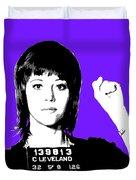 Jane Fonda Mug Shot - Purple Duvet Cover