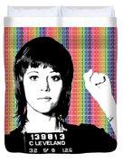 Jane Fonda Mug Shot - Rainbow Duvet Cover