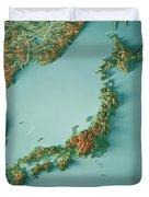 Japan 3d Render Topographic Map Border Duvet Cover