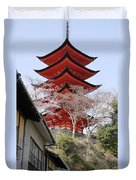 Japan Itsukushima Temple Duvet Cover