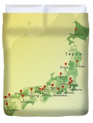 Japan Map Square Cities Straight Pin Vintage Duvet Cover