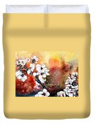 Japanese Cherry Blossom Abstract Flowers Duvet Cover