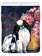 Japanese Chin And Hydrangeas Duvet Cover