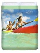 Japanese Couple Kayaking Duvet Cover