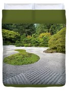 Japanese Flat Garden With Checkerboard Pattern Duvet Cover