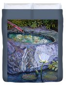 Japanese Fountain With Lily Duvet Cover