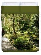 Japanese Garden At Butchart Gardens In Spring Duvet Cover