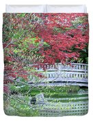 Japanese Garden Bridge In Springtime Duvet Cover
