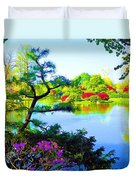 Japanese Garden In Spring Duvet Cover
