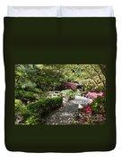 Japanese Garden Path With Azaleas Duvet Cover