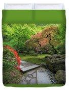 Japanese Garden Strolling Stone Path Duvet Cover
