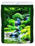 Japanese Garden Waterfall Duvet Cover