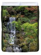 Japanese Garden Waterfall Duvet Cover