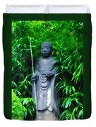 Japanese House Monk Statue Duvet Cover