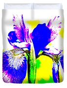 Japanese Iris Pop Art Abstract Duvet Cover