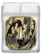 Japanese Katana Tsuba - Golden Twin Dragons On Black Steel Over White Leather Duvet Cover