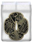 Japanese Katana Tsuba - Golden Twin Koi On Black Steel Over White Leather Duvet Cover