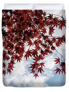 Japanese Maple Red Lace - Horizontal View Downwards Right Duvet Cover
