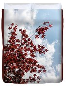 Japanese Maple Red Lace - Vertical Up Right Duvet Cover
