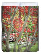 Japanese Maple Tree And Pond Duvet Cover