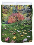 Japanese Maple Tree On A Mossy Slope Duvet Cover