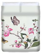 Japonica Magnolia And Butterflies Duvet Cover