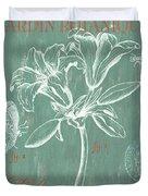 Jardin Botanique Aqua Duvet Cover by Debbie DeWitt