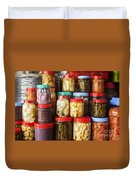 Jars Of Asian Style Pickles In Kep Market Cambodia Duvet Cover