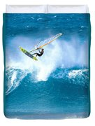 Jason Flies Over A Wave Duvet Cover