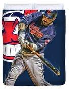 Jason Kipnis Cleveland Indians Oil Art Duvet Cover