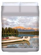 Jasper Lake Canoes Duvet Cover