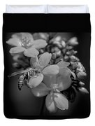 Jatropha Blossoms Wasp Painted Bw Duvet Cover