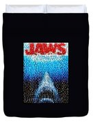 Jaws Horror Mosaic Duvet Cover by Paul Van Scott