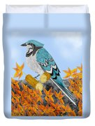 Jay With Corn And Leaves Duvet Cover