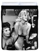 Jayne Mansfield Hollywood Actress And, Italian Actress Sophia Loren 1957 Duvet Cover