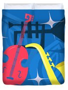 Jazz Composition With Bass, Saxophone And Trumpet Duvet Cover