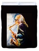 Jazz Man Duvet Cover by Karen  Ferrand Carroll