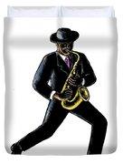 Jazz Musician Playing Saxophone Scratchboard Duvet Cover