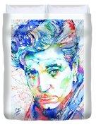 Jean Gabin - Colored Pens Portrait Duvet Cover