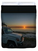 Jeep Driver Watching Sunset Over Peaceful River Duvet Cover