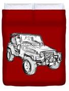 Jeep Wrangler Rubicon Illustration Duvet Cover