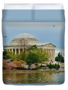 Jefferson Memorial, Springtime In Dc Is When Things Bloom, Like The Japanese Cherry Trees Duvet Cover
